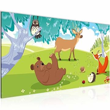 Leinwandbild 100×40 cm: Tiere im Wald, für Kinder •